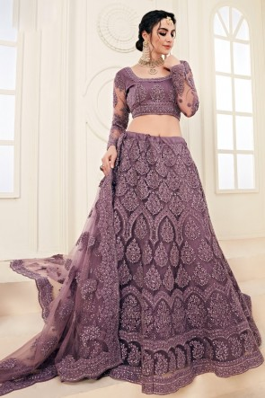 Heavy Designer Purple Zari And Embroidered Work Net Lehenga Choli And Dupatta