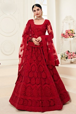 Embroidered And Zari Work Red Net Fabric Lehenga Choli And Dupatta