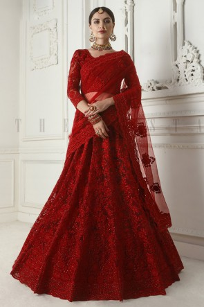 Maroon Net Fabric Zari And Embroidered Work Designer Lehenga Choli And Dupatta