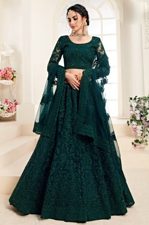 Teal Zari Work And Embroidered Net Fabric Lehenga Choli And Dupatta