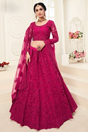 Pink Embroidered And Zari Work Net Fabric Designer Lehenga Choli And Dupatta