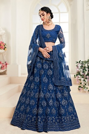Blue Embroidered And Zari Work Net Fabric Lehenga Choli And Dupatta