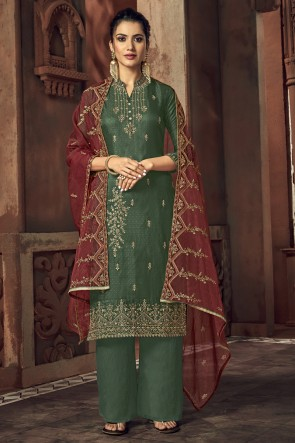 Geeen Tussar Silk Embroidered Plazzo Suit With Organza Dupatta