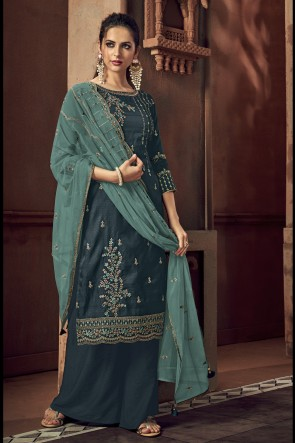 Tussar Silk Charcoal Embroidered Plazzo Suit With Chiffon Dupatta