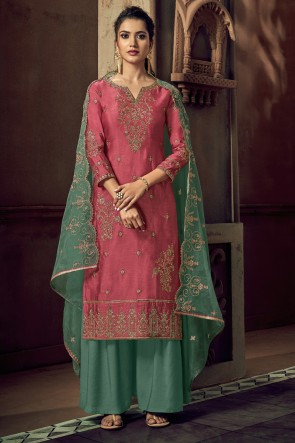 Embroidered Rust Tussar Silk Fabric Plazzo Suit Whit Organza Dupatta