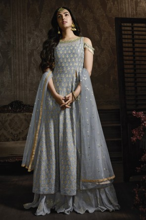 Sonal Chauhan Georgette Silver Embroidered Plazzo Suit With Net Dupatta