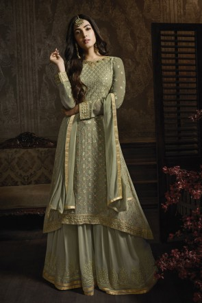 Sonal Chauhan Embroidered Green Georgette Fabric Plazzo Suit Nazmin Dupatta