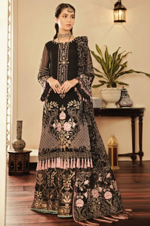 Faux Georgette Designer Black Embroidered And Thread Work Plazzo Suit With Net Dupatta