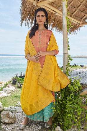 Peach Cotton Embroidered Plazzo Suit With Silk Dupatta
