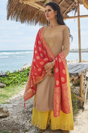 Embroidered Begie Cotton Fabric Plazzo Suit With Silk Dupatta