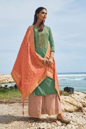 Cotton Designer Sea Green Embroidered Plazzo Suit With Silk Dupatta