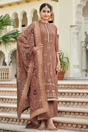 Embroidered Coffee Crepe Fabric Plazzo Suit With Jacquard Dupatta