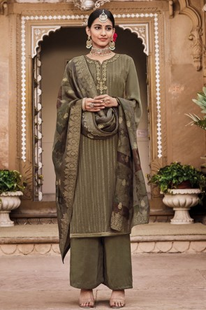 Mehendi Green Crepe Embroidered Plazzo Suit With Jacquard Dupatta