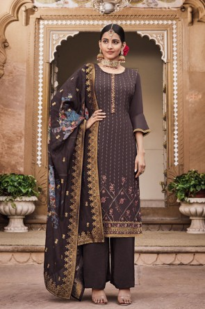 Designer Brown Embroidered Crepe Plazzo Suit With Jacquard Dupatta
