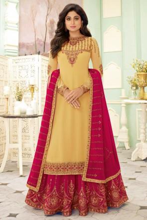 Shamita Shetty Designer Cream Embroidered Georgette Lehenga Suit And Dupatta