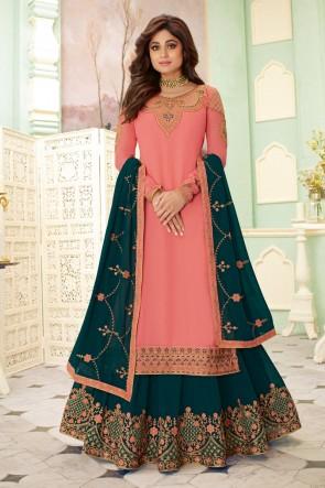 Shamita Shetty Embroidered Peach Georgette Fabric Lehenga Suit And Dupatta