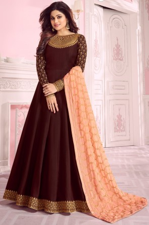Shamita Shetty Wedding Wear Embroidered Brown Silk Anarkali Suit And Santoon Bottom