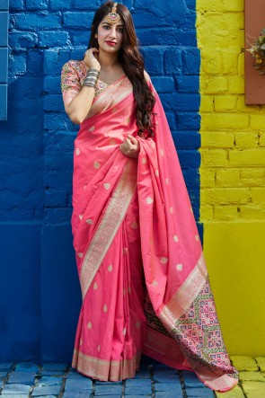 Weaving With Jacquard Work Pink Silk Fabric Saree With Blouse