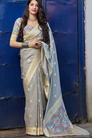 Grey Silk Fabric Weaving With Jacquard Work Designer Saree With Blouse
