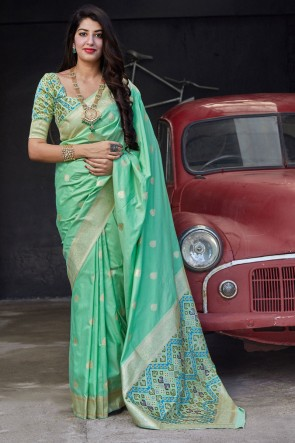 Stunning Green Silk Fabric Weaving With Jacquard Work Saree With Blouse