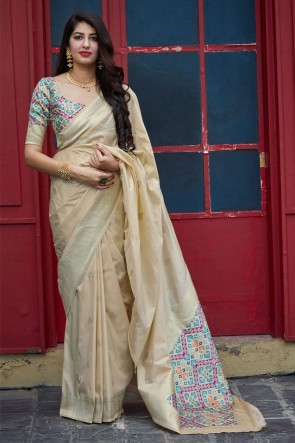 Silk Fabric Weaving With Jacquard Work Designer Beige Awesome Saree With Blouse