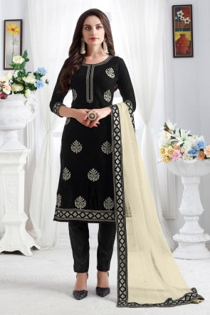 Lovely Velvet Fabric Black Resham Embroidered Designer Solid Salwar Kameez With Net Dupatta